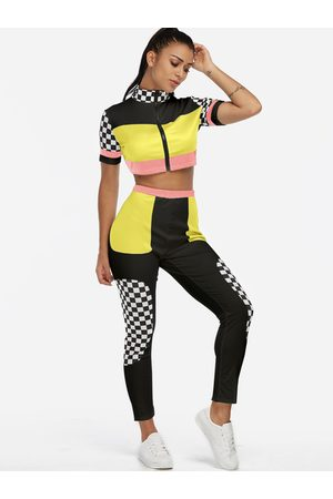 YOINS Zip Design Grid Short Sleeves High-waisted Active Tracksuit