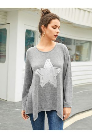 YOINS Grey Graphic Round Neck Long Sleeves Tee