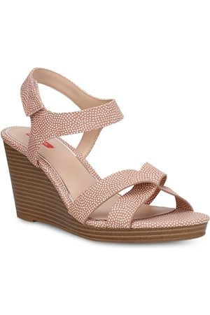 Bata Women Peach-Coloured & White Printed Wedges