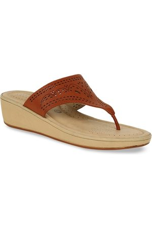Bata Women Brown Textured Wedges