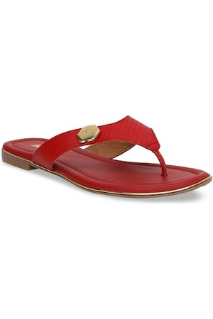 Bata Women Red Solid Open Toe Flats