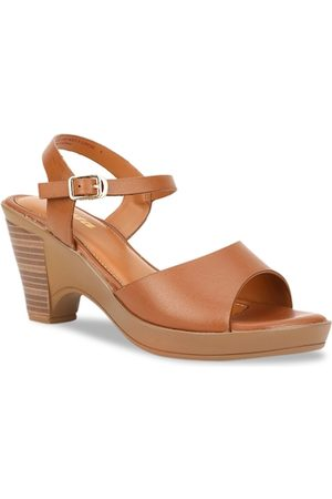 Bata Women Tan Brown Solid Block Heels