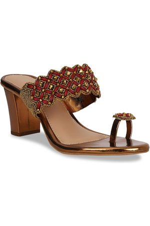 Bata Women Brown Embellished Heels