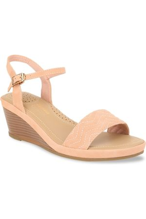 Bata Women Pink Textured Wedges