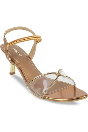 All Things Mochi Women Gold-Toned & Transparent Colourblocked Heels