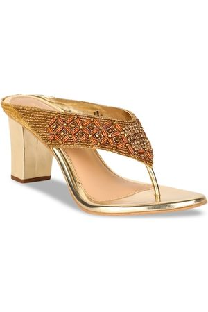 Bata Women Gold-Toned Embellished Heels