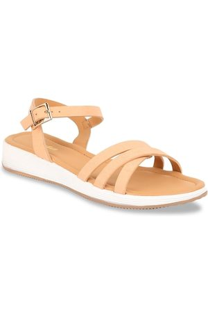 Bata Women Beige Solid PU Open Toe Flats