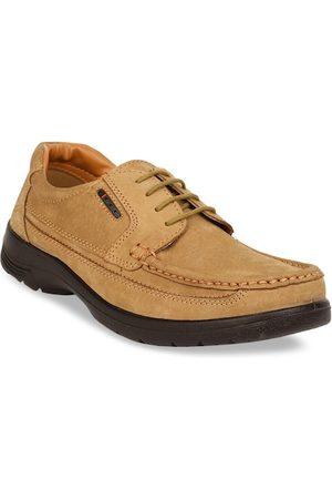 Bata Men Tan Brown Solid Leather Derbys