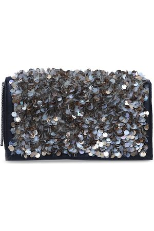 Diwaah Silver-Toned & Navy Blue Embellished Clutch