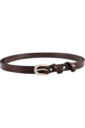 BuckleUp Women Coffee Brown Solid Leather Slim Belt