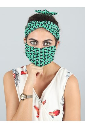 Swiss Design Women Green Single 2-Ply Outdoor Mask Criss Cross Head Band & 1 Hair Band