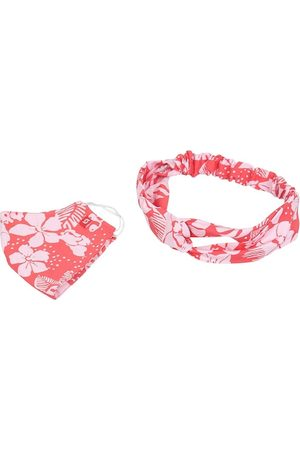 Swiss Design Women Red Reusable 2-Ply Cloth Mask With Headband & Hair Band