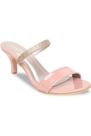 VALIOSAA Women Pink & Gold-Toned Colourblocked Slim heels