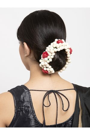 Moedbuille Hair Accessories - Off-White Embellished Floral Design Hair Accessory
