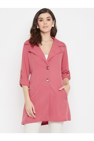 Color Cocktail Women Pink Solid Trench Coat