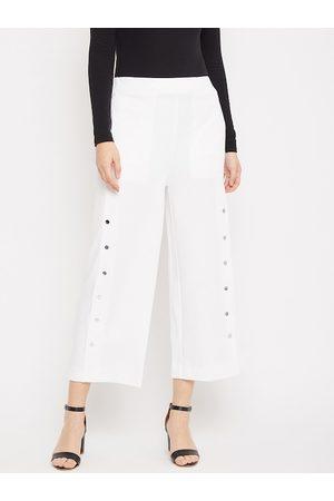Crimsoune Club Women White Solid Straight Palazzos