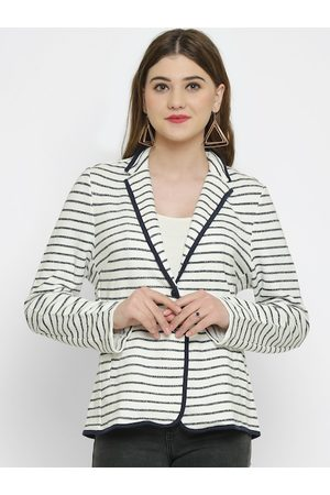 KOTTY Women White Striped Tailored Jacket