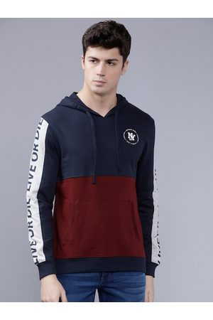 The Indian Garage Co Men Burgundy & Navy Blue Colourblocked Hooded Sweatshirt