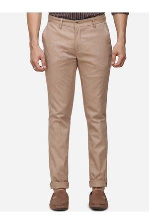 Greenfibre Men Khaki Slim Fit Self Design Regular Trousers