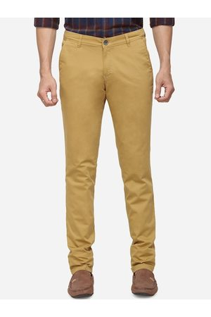 Greenfibre Men Mustard Yellow Slim Fit Solid Chinos