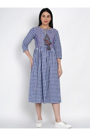 FABNEST Women Blue & White Checked Fit and Flare Dress