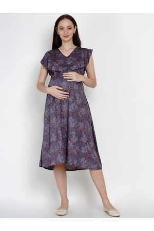 Mine4Nine Women Grey & Red Maternity Floral Print Fit and Flare Dress