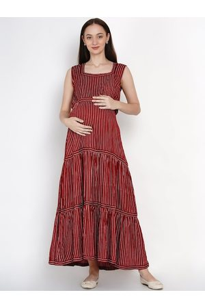 Mine4Nine Women Maroon Striped Maternity Maxi Dress