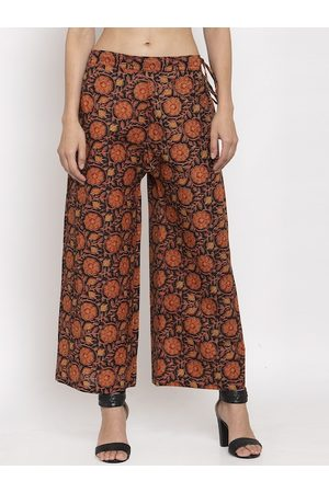 Tag 7 Women Red & Black Floral Printed Flared Palazzos