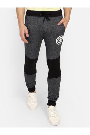 Free Authority Men Charcoal Grey & Black Colourblocked Slim-Fit Joggers