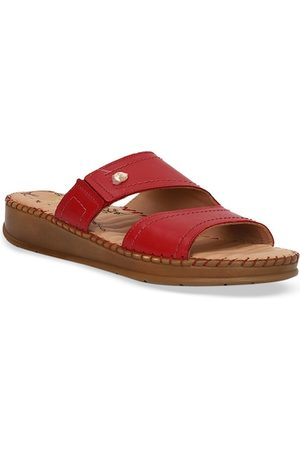 Scholl Women Red Solid Leather Open Toe Flats