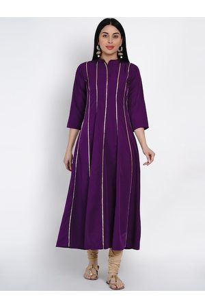 FABNEST Women Purple Striped Anarkali Kurta
