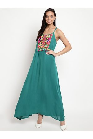 Mayra Women Turquoise Blue Solid Maxi Dress