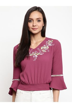 Mayra Women Magenta Embroidered Blouson Top