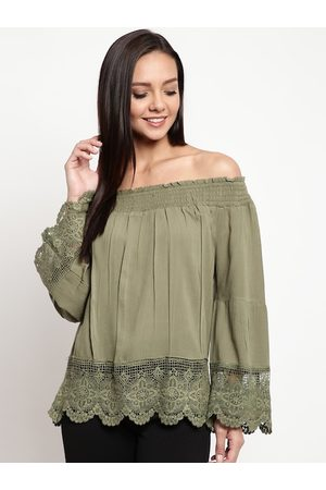 Mayra Women Olive Green Solid Bardot Top