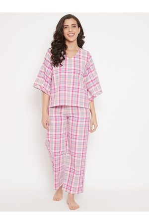 The Kaftan Company Women Pink & Grey Checked Night suit