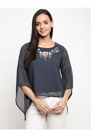 Mayra Women Grey Self Design Top