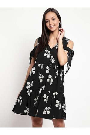 Mayra Women Black Printed A-Line Dress