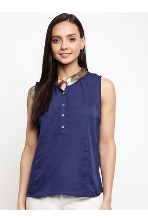 Mayra Women Blue Sequinned Top
