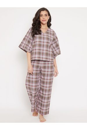 The Kaftan Company Women Brown & Off-White Checked Night suit