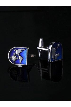 Yellow Chimes Jewellery Rhodium-Plated Blue & Silver-Toned Geometric Cufflinks