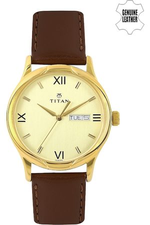 Titan Men Gold-Toned Dial Watch NH1580YL05