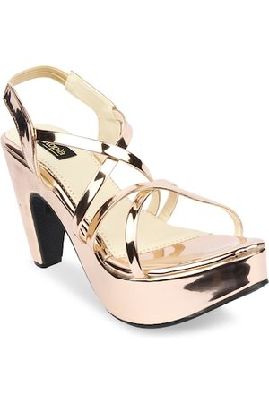Shoetopia Women Copper-Toned Solid Platforms