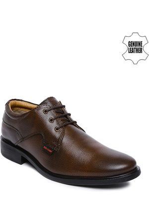 Red Chief Men Brown Textured Genuine Leather Derby Shoes