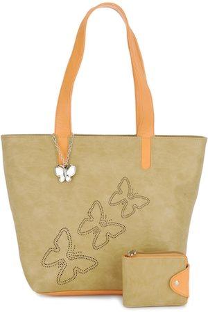 Butterflies Beige Shoulder Bag with Wallet