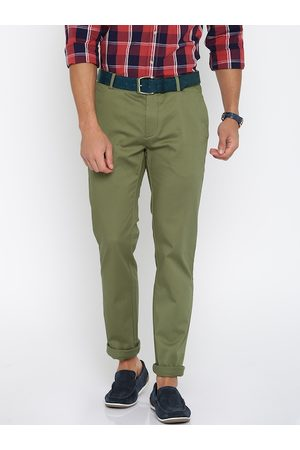 Lifestyle Men Olive Green Solid Slim Fit Chino Trousers