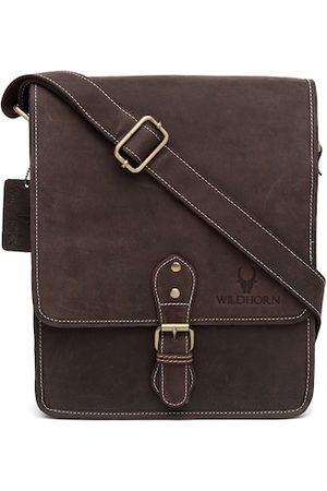 WildHorn Men Brown Genuine Leather Messenger Bag