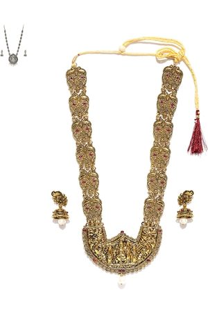Zaveri Pearls Antique Gold-Toned Lord Shiva Stone-Studded Beaded Jewellery Set