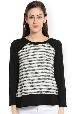 109F Women Black & Off-White Striped Top