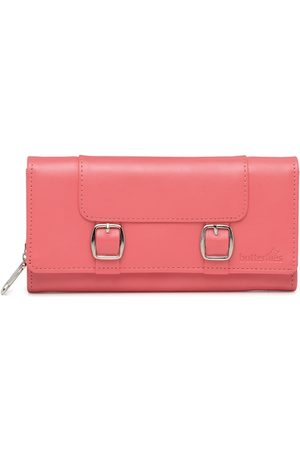Butterflies Women Coral Pink Solid Twofold Wallet