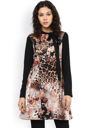109F Women Off-White & Black Tiger & Floral Print Tunic